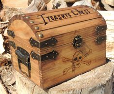 Pyrography Treasure Chest Small Wood Burned with by TheCarpentersD, $50.00