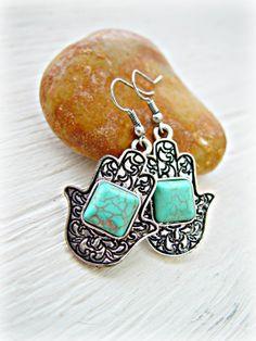 Boho Turquoise Earrings Hamsa Earrings Fatima by HandcraftedYoga, $21.00