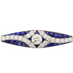 Preowned Art Deco Calibre-cut Sapphire Diamond Bar Pin ($29,500) ❤ liked on Polyvore featuring jewelry, brooches, blue, diamond brooch, blue sapphire jewelry, art deco jewelry, diamond jewellery and art deco diamond jewelry