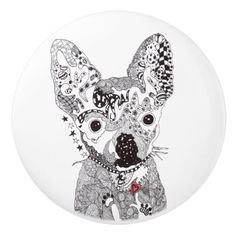 Chihuahua Door Knob - Ceramic - home gifts ideas decor special unique custom individual customized individualized