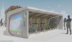 Mentol Architects 'Covered-Plant bicicletas Estacionamento Pod também Dou ...