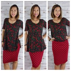 Different ways to wear a LuLaRoe Perfect Tee. Knot the sides, leave it flowy, or tucked.  #lularoeperfecttee #lularoecassie