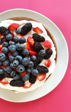 AMAZING 1-Bowl Chocolate Cake with Coconut Whipped Cream with Berries! The perfect summer birthday cake   #vegan #glutenfree #cake #glutenfree #chocolate #dessert #minimalistbaker
