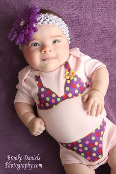 Pink White Polka dot Bikini Onesie by TheHappyCowCompany on Etsy