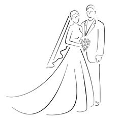 Bride and Groom Royalty Free Stock Vector Art Illustration