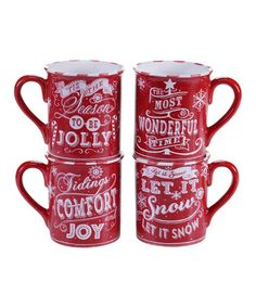 Love this Red Chalkboard Christmas Mug - Set of Four on #zulily! #zulilyfinds