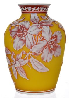 """7 1/4"""" Unmarked English Cameo Art Glass Vase - Yellow Background With Pink And White Cameo Carved Overlay Featuring Branch, Blossom And Butterfly Decor"""