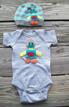 IN STOCK 03  Month  ROBOT Beanie and Onesie For by NinisHandmades, $42.00