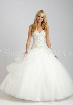 Tulle Ball Gown Sweetheart Natural Waist Floor-Length Wedding Dress with Applique - Bestdress2014.com