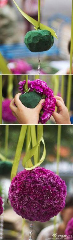 Como fazer pompons de flores