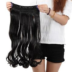 Sexy Wigs Long New Wavy Curly Natural Black Hairpiece Full Head One Piece 5 Clips Clip In Hair Extension Extensions Long Hair Extensions, Synthetic Hair Extensions, Boucle Wavy, Extension A Clip, Free Shed, Hair Pieces, Wigs, Cool Hairstyles, Curly