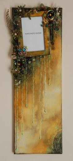 Canvas fait avec les encres izink, les silks acrylic, et évidemment avec les embellissements du SCRAP'uleux STOCK!!!!