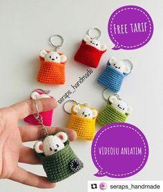 Cute kawaii amigurumi mini mouse bag charms , mini gifts to make 微博 - Knitting Crochet ideas Crochet Amigurumi, Amigurumi Patterns, Crochet Dolls, Crochet Gifts, Cute Crochet, Crochet Baby, Baby Knitting Patterns, Crochet Ideas, Crafts
