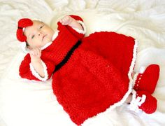 Christmas dress PDF crochet pattern 0-6 month size baby girl infant newborn costume holiday festive photography prop adorable cute. $7.00, via Etsy.