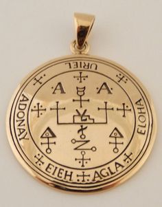 Archangel URIEL Talisman Gold Tone Bronze Sigil of Uriel Angel Angelic Pendant