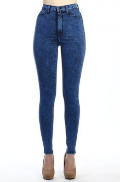 OMG High Waisted Jeans-Blue - WHAT'S NEW