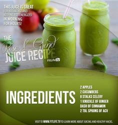 The Rise and Grind Juice.  Did you know that this juice is great to give you the boost of metabolism and rush of energy you need. This is a great drink to start off your morning right! #apple #cucumber #celery #ginger #cinnamon #ACV