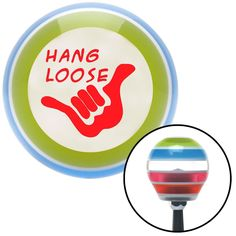 Red Hang Loose w hand Stripe Shift Knob with M16 x 15 Insert