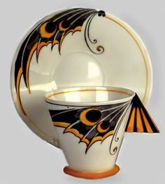 "treasures-and-beauty: "" Shelley Art Deco moth wing cup and saucer """