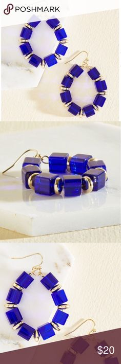 "⚡️Flash Sale Bold Blue Cube Earrings On the debut of these dangly earrings, friends will demand to know where this newfound boldness began. Wowing with indigo cubes that alternate with golden spacers, these luxe loops create whisperings and wonder around your amazing ensemble. Earrings measure 2"" x 1.5"". ⚡️Flash sale price firm Jewelry Earrings"