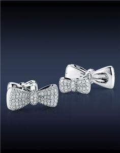 Groom bling bow cuff links for Jacob the Jeweler