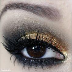 Passo a passo maquiagem dourada e preto - tudo make 10