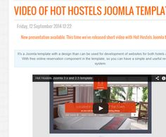 Hot Hostels #Joomla 3.x and 2.5 #template is a subject of our latest #video presentation. Watch it. http://cmsgadget.com/news/video-of-hot-hostels-joomla-template