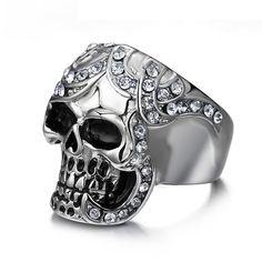 Meaeguet vintage zirconia schedel ringen europa zilver-kleur rvs ringen voor mannen party skelet ring