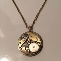 Steampunk Clockwork Industrial Style Pendant, Steam Punk Brass Necklace With Brass Watch Movement Parts. by Steampunkbyben on Etsy