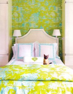 Child's Bedroom with chartreuse toile wallpaper.