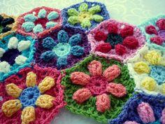 Puffed Daisy Hexagon  by Karen Seaman    Published in  Karen Seaman Designs #freecrochetpattern