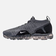 Left view of Mens Nike Air VaporMax Flyknit 2 Running Shoes in Dark Grey/White/Wolf Grey Nike Air Vapormax, Mens Nike Air, Nike Basketball Shoes, Running Shoes Nike, King Shoes, White Wolf, New York Fashion, Milan Fashion Weeks, Africa Fashion