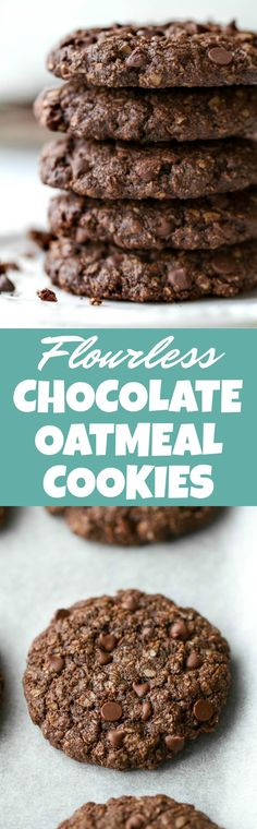 Flourless double chocolate oatmeal cookies that are soft, chewy, loaded with chocolate, and super easy to make with only one bowl and a handful of simple ingredients! They're gluten-free and a perfect choice for when those chocolate cravings hit | runningwithspoons.com