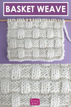 Interlocking Basket Weave Stitch Pattern with Knitting Pattern + Video Tutorial by Studio Knit Dishcloth Knitting Patterns, Knitting Stitches, Crochet Patterns, Free Knitting, Knit Basket, Basket Weaving, Crochet Baskets, Basket Weave Stitch, Handmade Headbands