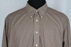 L.L. BEAN Mens Long Sleeve Wrinkle Resistant Brown Plaid Shirt sz XXL 2XLarge #LLBean #ButtonFront