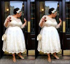 Charming Plus Size Wedding Dresses 2016  Tea Length lace Bridal Dress From Molly_bridal, $119.38  Dhgate.Com