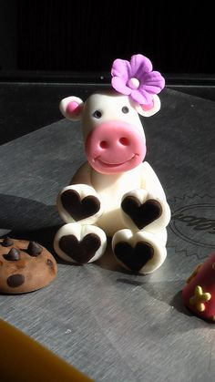 Gum Paste Birthday Cow with Hat and Cookie