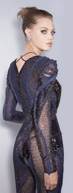 fashion art detailing beading Atelier Versace Couture Fall 2013