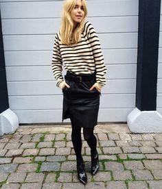 Tröja från Ganni, kjol från Envii och stövletter från Saint Laurent. | lookdepernille
