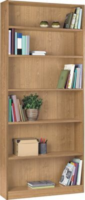Bookcase tall and wide oak finish