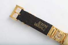 Gianni Versace Gold and Black Medusa Watch With Greca image 4