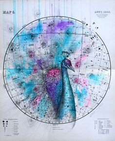Creature art on top of antique celestial maps by Louise McNaught, via Visual News Tumblr Shop, Celestial Map, Survival, Colossal Art, Art Journal Inspiration, Design Inspiration, Affordable Art, Map Art, Nature