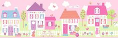 Brewster Home Fashions You Are My Sunshine Happy Street Village x Scenic Border Wallpaper Color: Purple Brick Wallpaper Roll, Wallpaper Panels, Print Wallpaper, Girl Wallpaper, Pattern Wallpaper, Wallpaper Borders, Wallpaper Stores, Kids Room Wallpaper, Brewster Wallpaper