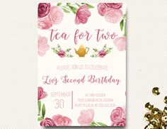 Tea for Two Birthday Invitation Tea Party Invitation Floral Pink Watercolor DIY Printable Tea Party Birthday, Birthday Party Themes, Birthday Ideas, Dinner Party Outfits, Tea Party Invitations, Tea Party Baby Shower, Super Party, Floral Invitation, Diy Party Decorations
