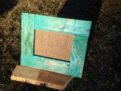 Burlap, cork board frame made of pallet wood finished in seaside paint color. 20.00