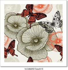 Free art print of Seamless floral pattern with poppies and butterflies. vector illustration.