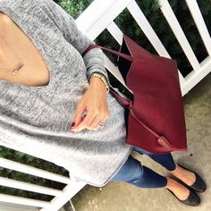 IG @mrscasual <click through to shop this outfit> BP Softest Tunic Burgundy tote