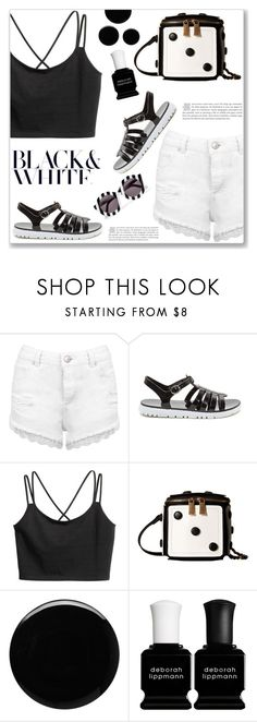 """""""Black & White"""" by christinacastro830 ❤ liked on Polyvore featuring Miss Selfridge, Gabriella Rocha, Deborah Lippmann and House of Holland"""