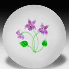 Victor Trabucco three violets on clear ground glass paperweight. by Victor Trabucco