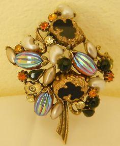 "Vintage Awesome Florenza Pin Brooch 3""  Rhinestone Black Onyx Pearl Signed"